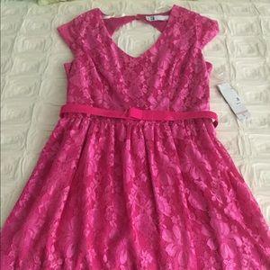 Leslie Fay Pink Lace Dress Size 10